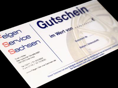 Gutschein für Felgen Service Chemnitz/Sachsen